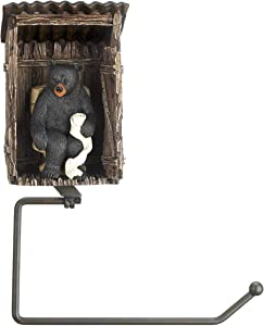 Accent Plus Bear Outhouse Toilet Paper Holder 7.32x3.75x9.5