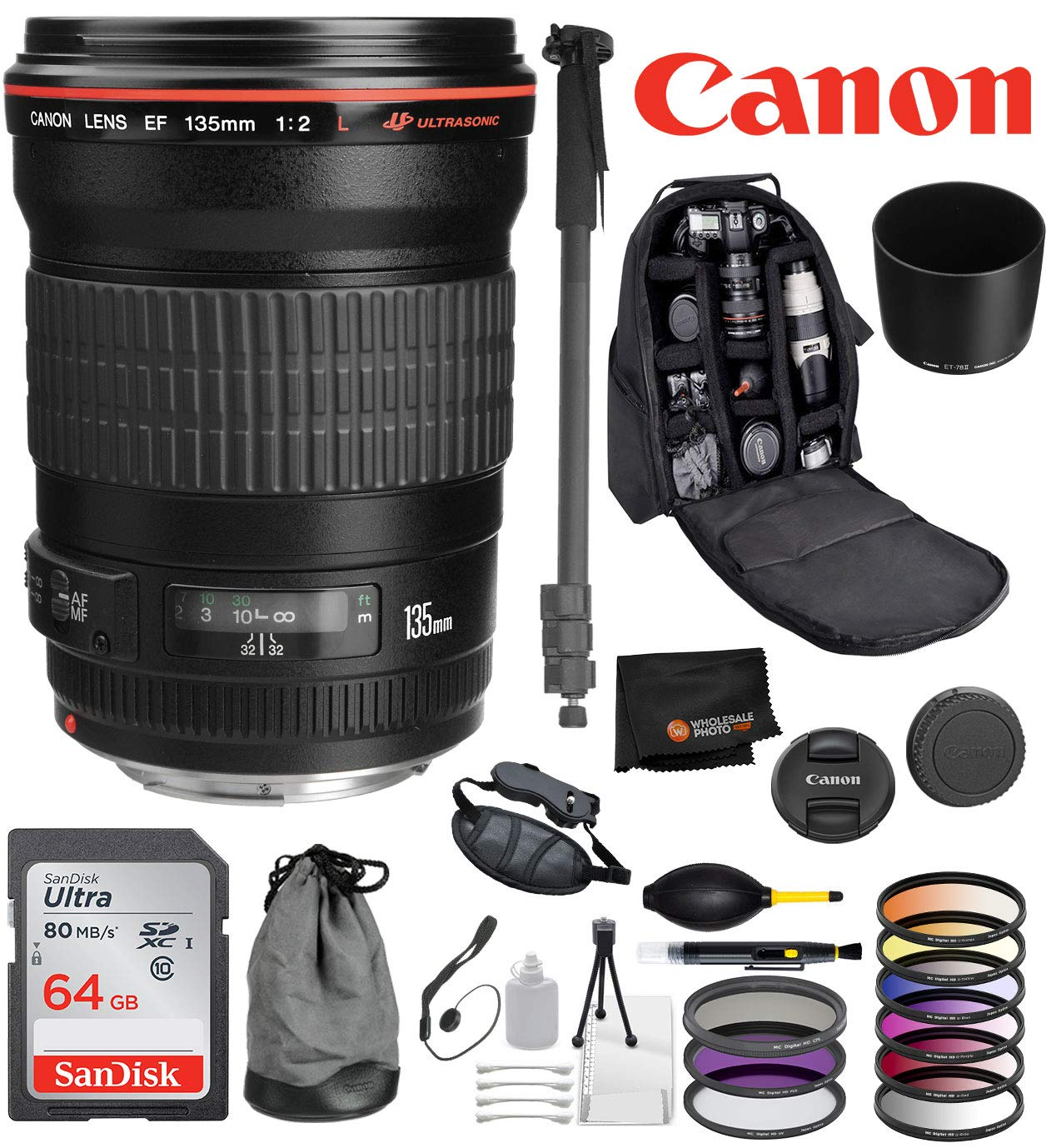 Canon EF 135mm f/2L USM Lens with Professional Bundle Package Deal Kit for EOS 7D Mark II, 6D Mark II, 5D Mark IV, 5D S R, 5D S, 5D Mark III, 80D, 70D, 77D, T5, T6, T6s, T7i, SL2 by Canon
