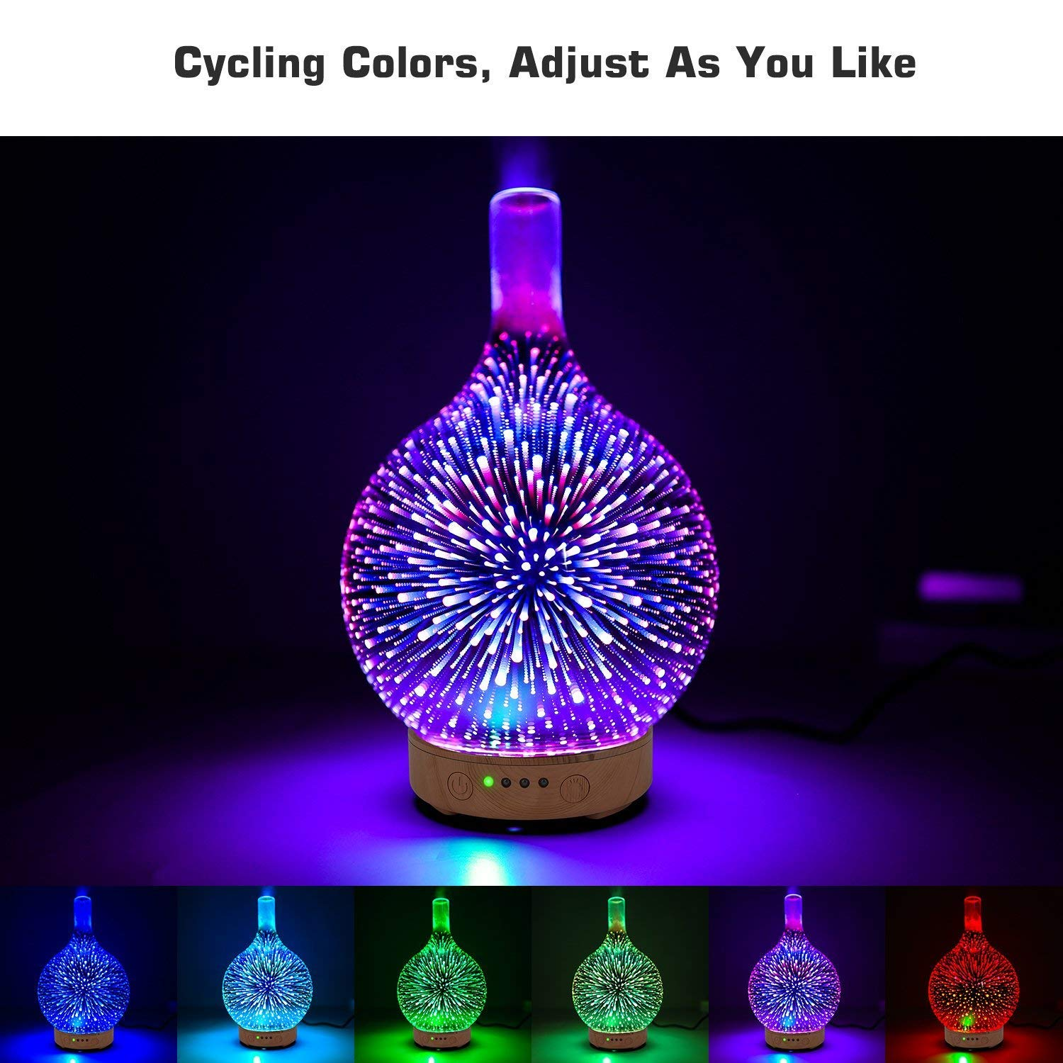 LENRUE Essential Oil Diffuser, 100Ml Aromatherapy Mist Humidifier, Ultrasonic Air Purifier With 3D Effect Night Light With 7 Color Changing Leds, Waterless Auto-Off, Timer Setting LENRUE®