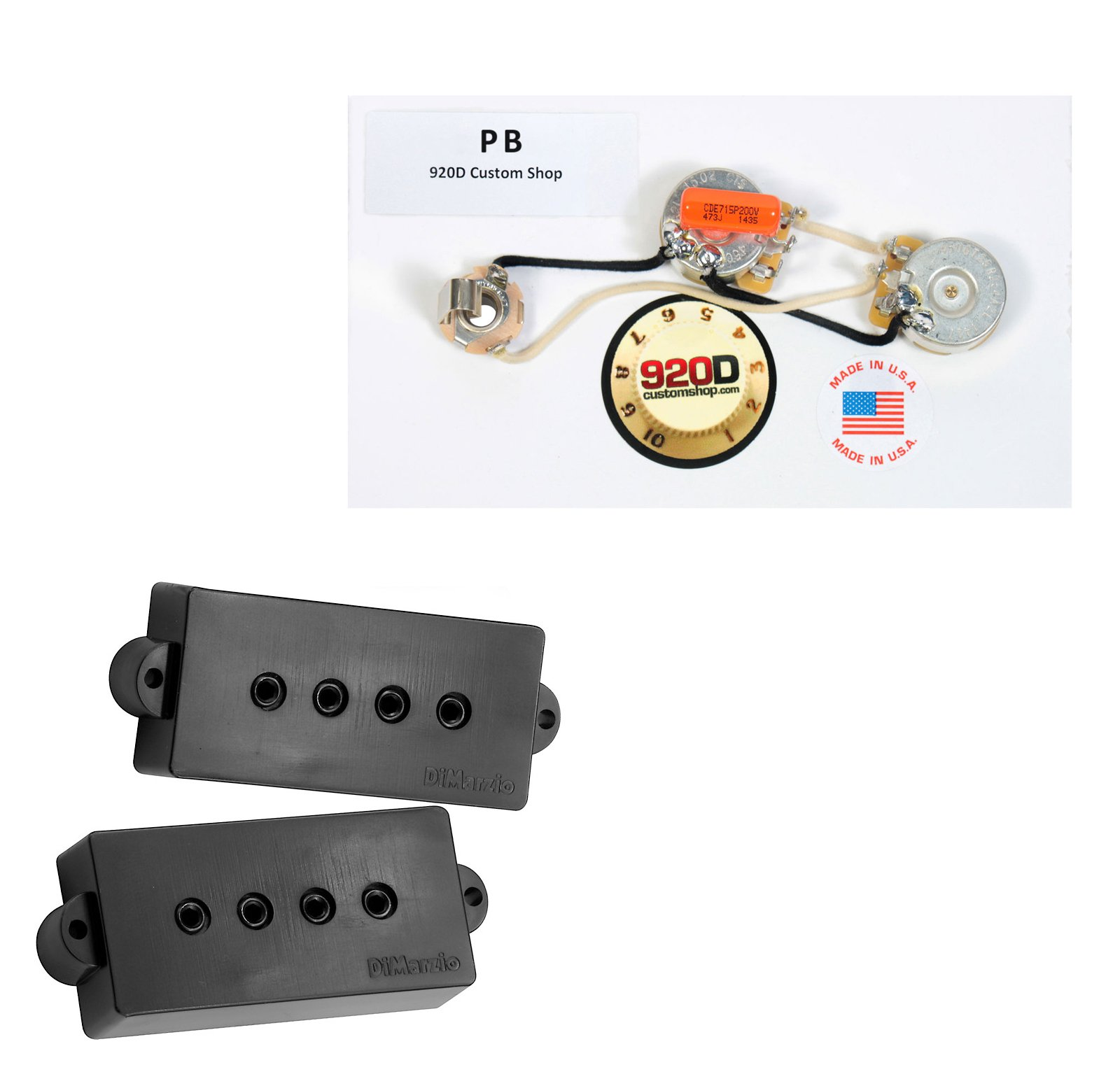 DiMarzio Model P DP122 for Fender P Bass Guitar Black, + PB Wiring Harness