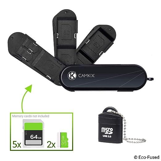 Funda de almacenamiento de tarjeta de memoria – Ranuras para 2 tarjetas Micro SD y 4 SD – Lector de tarjeta Micro SD USB incluido – También es ...