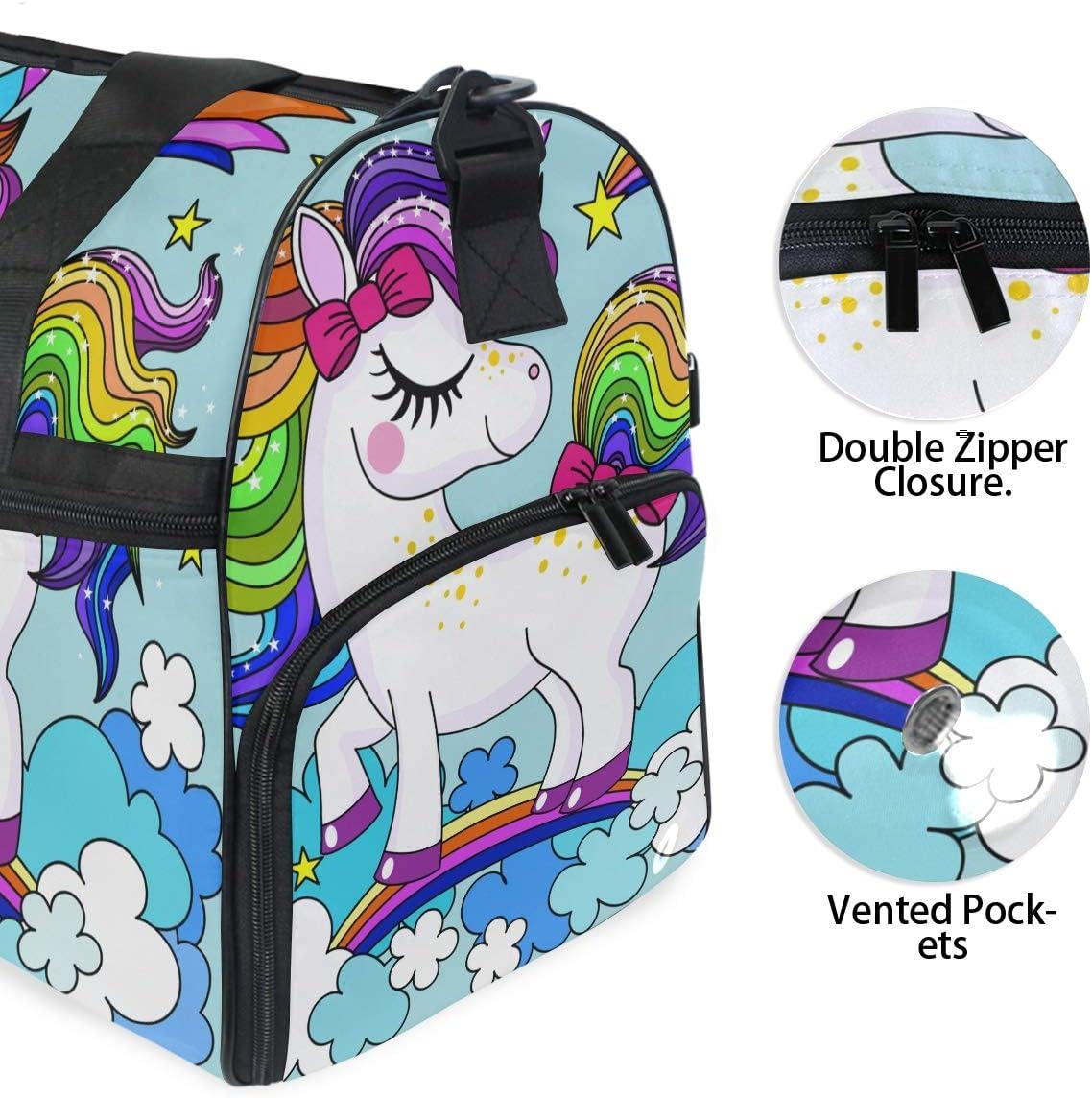 TFONE Watercolor Cute Unicorn Duffel Bag Sports Gym Weekend Bags with Shoe Compartmen