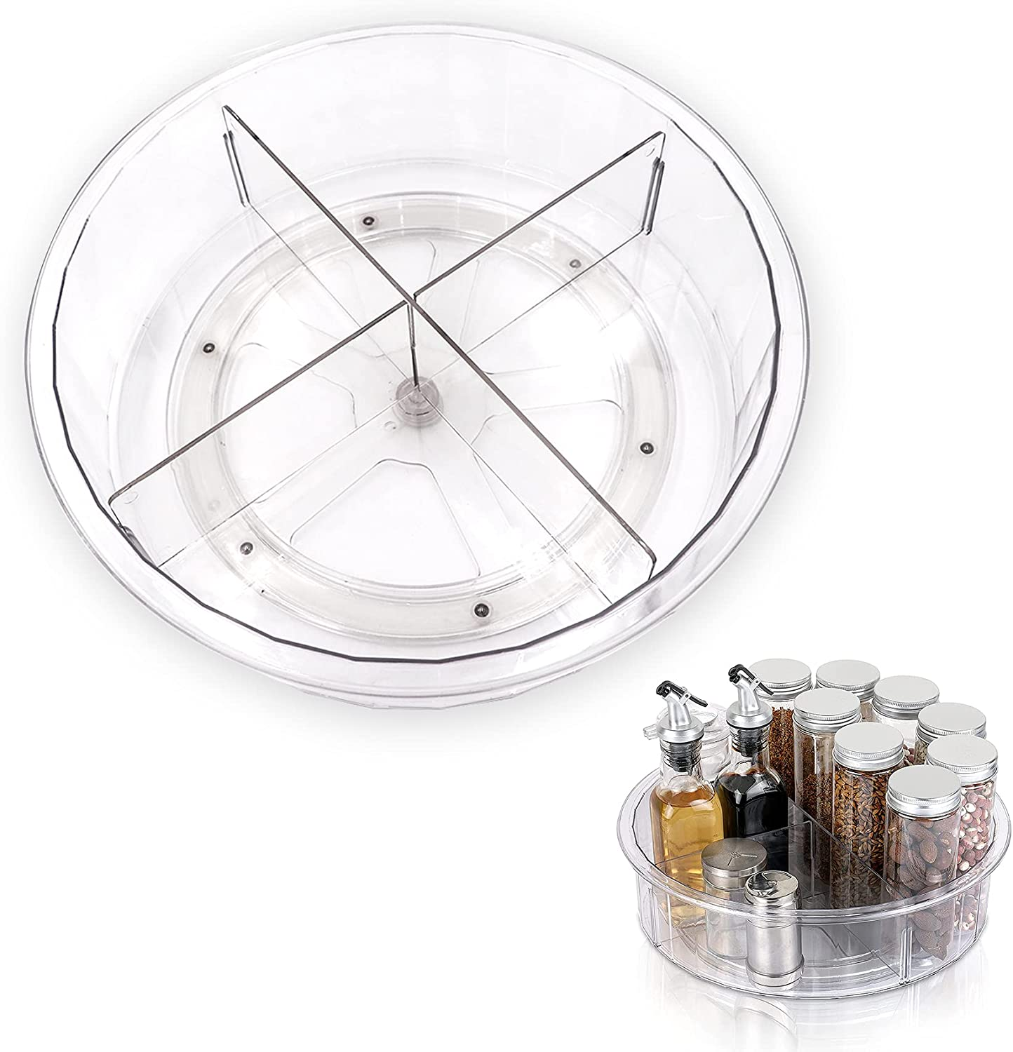 Plastic Round Lazy Susan Rotating Turntable Food Storage Container for Cabinet,Pantry,Refrigerator,Countertop,Spinning Organizer for Spices,Condiments,Baking Supplies