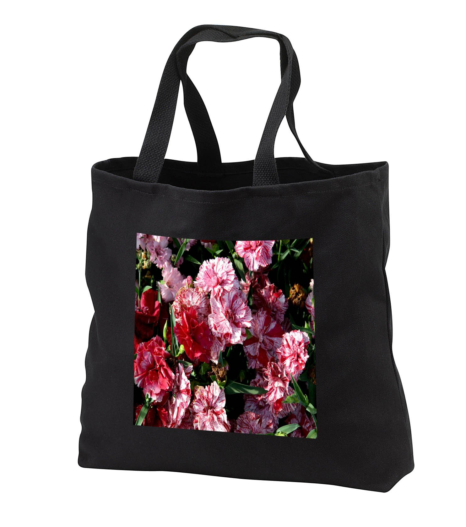 TDSwhite – Summer Seasonal Nature Photos - Floral Traditional Wedding Carnations - Tote Bags - Black Tote Bag 14w x 14h x 3d (tb_284614_1) by 3dRose (Image #1)