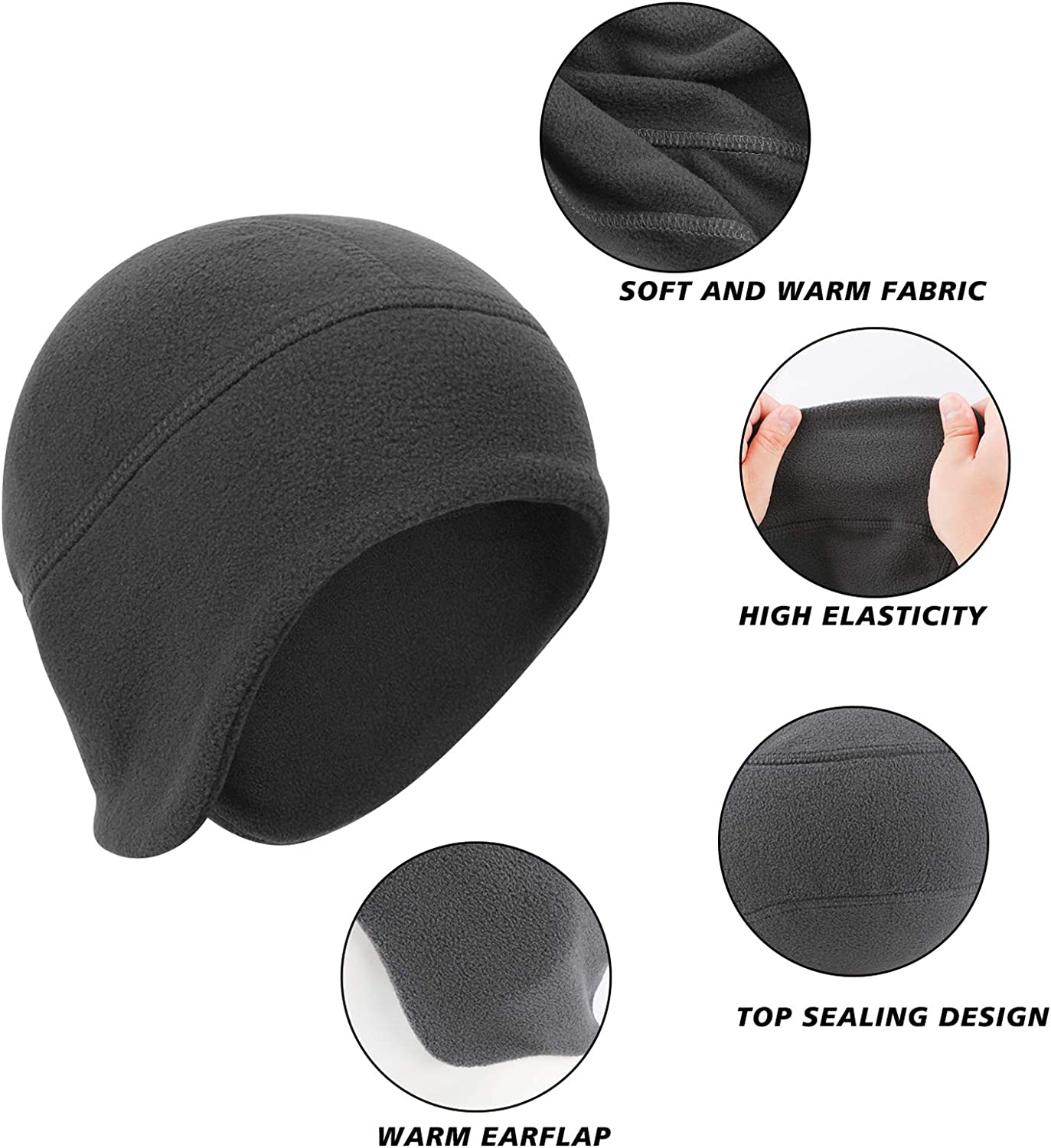 Sport Beanie Hat with Ear Covers for Men Women Running Skiing /& Winter Sports-Perfect Under Motorcycle Helmets,Hard Hat Cushion QKURT 2 PCS Winter Cycling Skull Cap