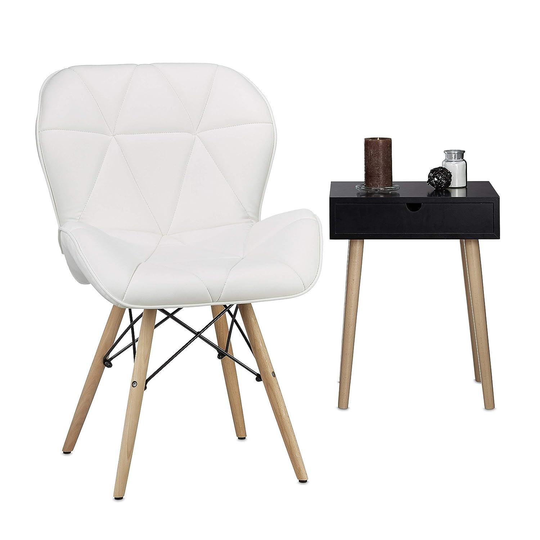 Relaxdays Ruby Acolchado Silla, diseño Retro, Piel sintética ...