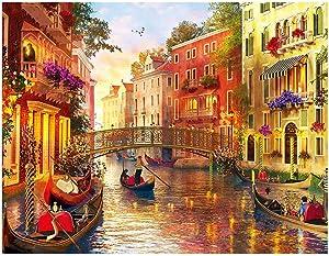 Venice Puzzle Canal Gondola Boat Large Paper Puzzle 1000 Pieces Jigsaw Puzzle Kids Adult