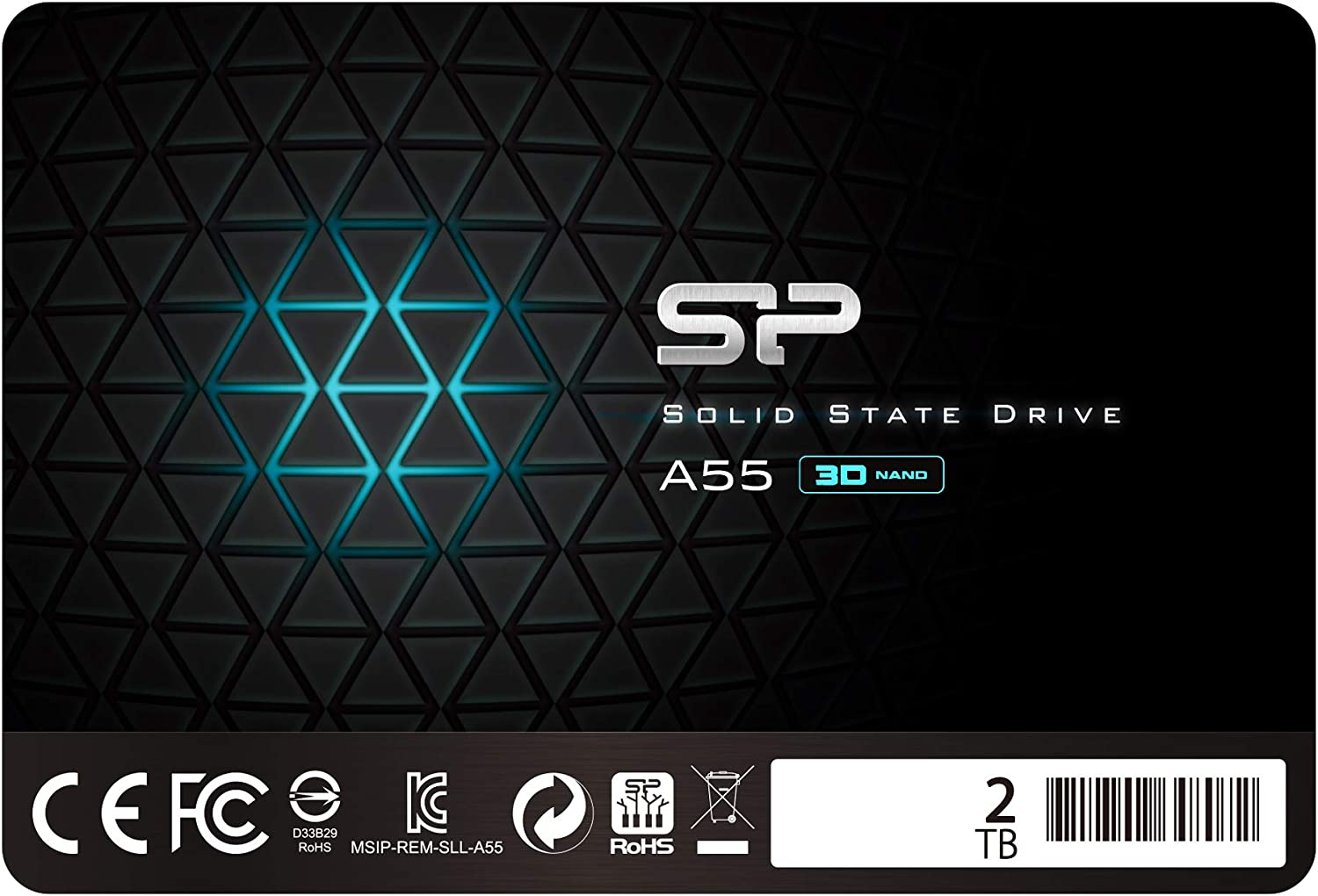 SP002TBSS3A55S25 Internal Solid State Drive Silicon Power 2TB SSD 3D NAND A55 SLC Cache Performance Boost SATA III 2.5 7mm 0.28