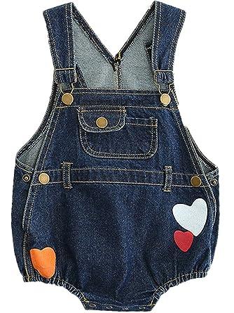 3341f2b20edc Amazon.com  Kids Baby Toddler Girl Sleeveless Denim Jeans Love Heart ...