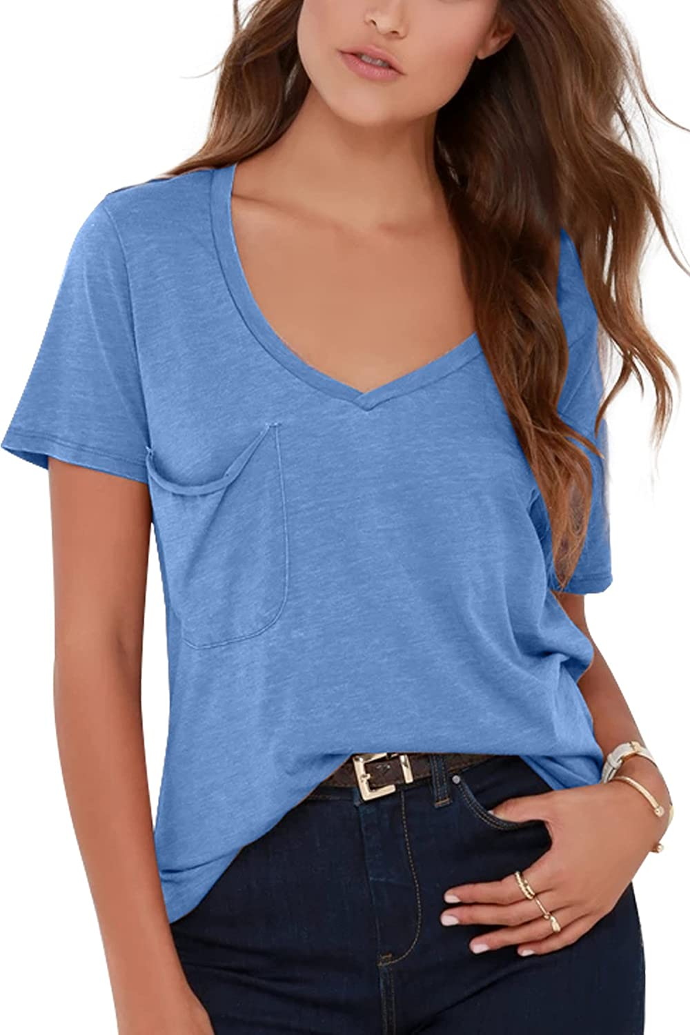 Yidarton Women Tshirt Top V Neck Short Sleeve Shirt Loose Blouse(Short)(sb,m) bluee