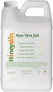 Organic Aloe Vera Leaf Gel - 100% Pure Aloe Leaf Gel for Face and Body After Sun Care - From Fresh Aloe Plants in USA - Hydrating Gel for Sunburn, Acne - No Clumping or Pulp - Non Sticky (1 Gallon)