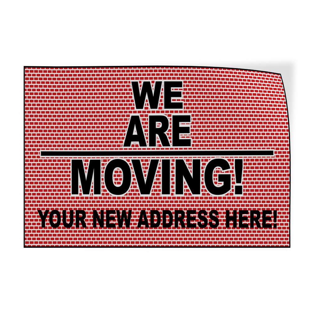 54inx36in Decal Sticker Multiple Sizes We are Moving Red Black Business Notice Outdoor Store Sign Red Set of 2