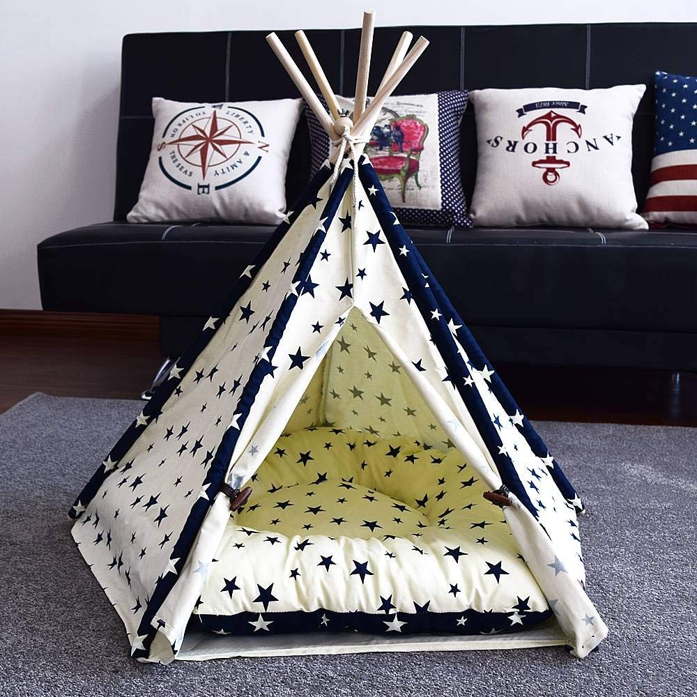 Qwhome Qwhome Qwhome Pet Teepee, Rimovibile E Lavabile Star Pet Teepee Pet Play House Cani Cats Play Kennels Cat Dog Bed,S 20aaff