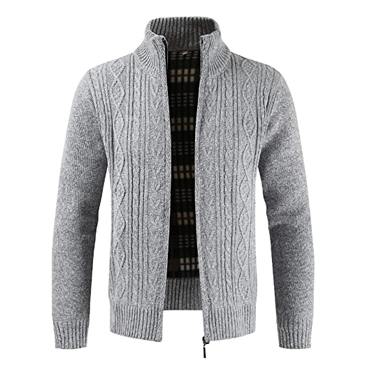 07f96df7ed5b Clearance Forthery Men s Zip Knitted Cardigan Fleece Knitted Sweater ...