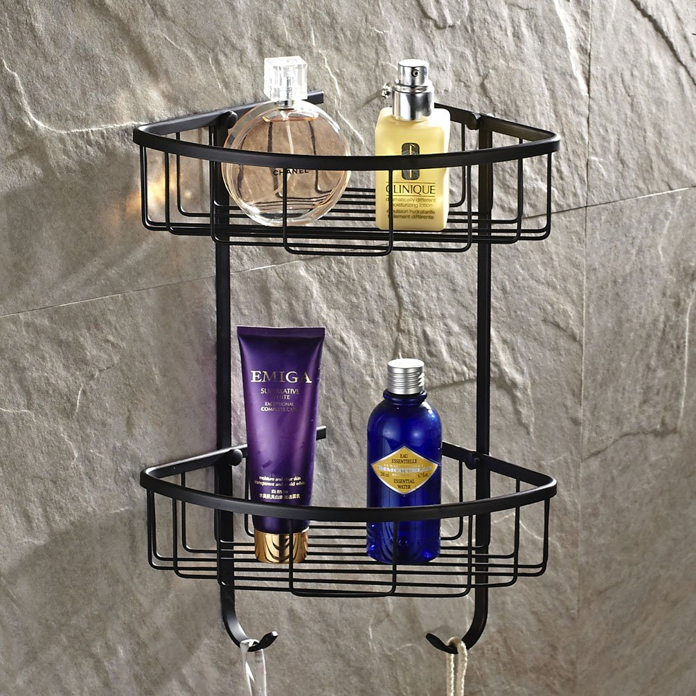 Wall Mounted 2 Tiers Dual Corner Shower Caddies Storage Tub and Shower Soap Wire Basket Cosmetic Holder Towel Robe Bar Rack Holder Triangle Orgnizer Bathroom Accessories Made of Solid Brass (oil rubbed bronze Finish) by GUMA