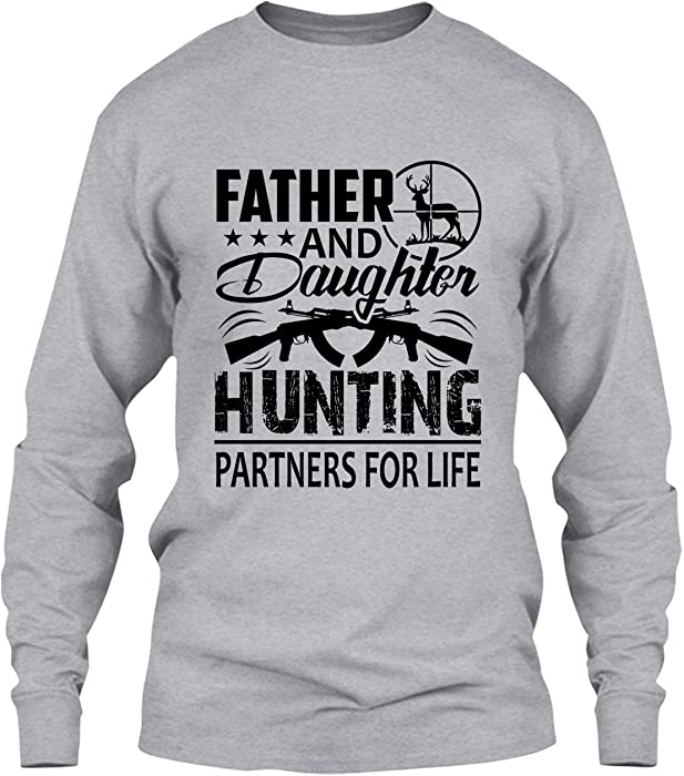 a6568b46 Elido Store Hunt Tshirt Design - Father and Daughter Hunting Partners T  Shirts Long Sleeve (S, Grey)   Amazon.com