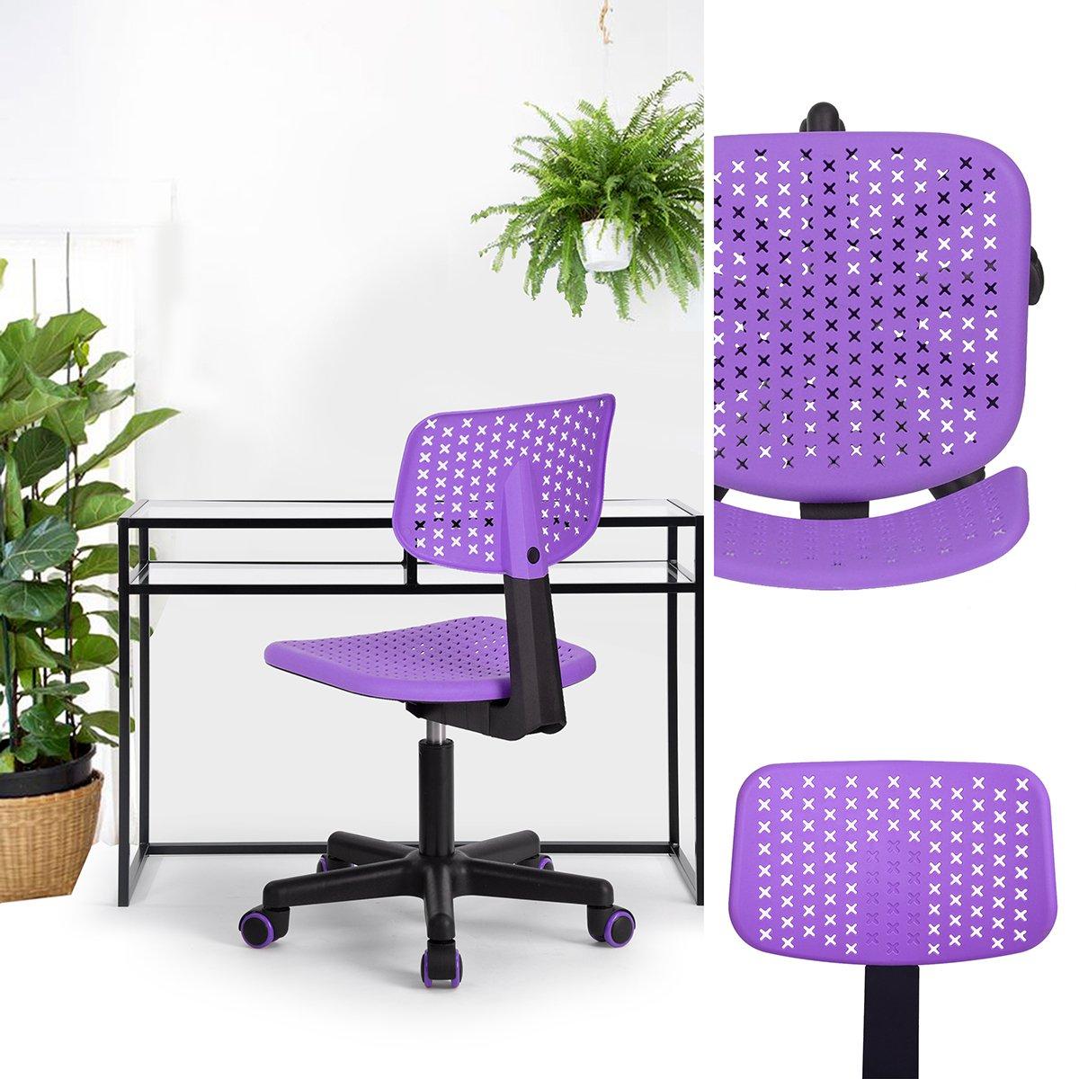 FurnitureR Kids Low-Back Adjustable Computer Seat Office Desk Task Swivel Armless Children Study Chair, Purple