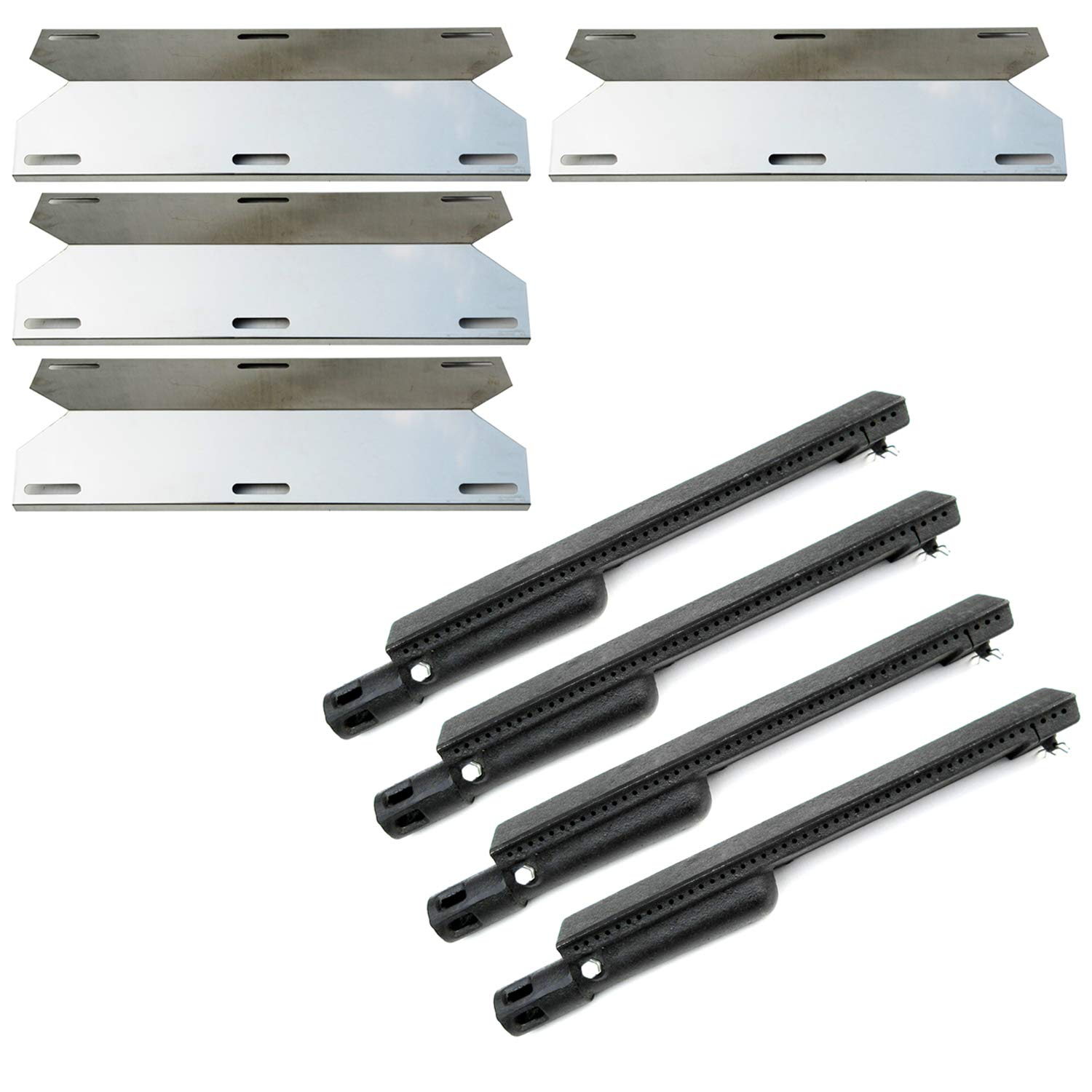 Direct store Parts Kit DG224 Replacement Jenn Air Gas Grill Repair Kit Gas Grill Burner and Heat Plate- 4 Pack (Cast Iron Burner + Stainless Steel heat plates)
