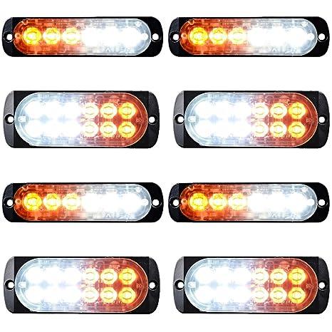Led Strobe Lights For Trucks >> Combo Amber White 4x 12 Led 4pcs 6 Led Car Tow Truck Emergency Warning Beacon Plow Safety Strobe Light Bar