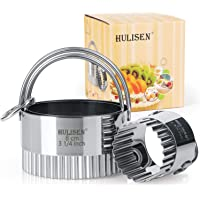 HULISEN Biscuit Cutter Set (3 Pieces/Set), Round Cookies Cutter with Handle, Professional Baking Dough Tools (Wave)
