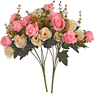 Moomass Artificial Flowers,2 Packs of Artificial Roses.24 Little Rose Silk Flowers. Plastic Flowers,Plants for Home Hotel Wedding Christmas Office Tables Decorations. Pink …