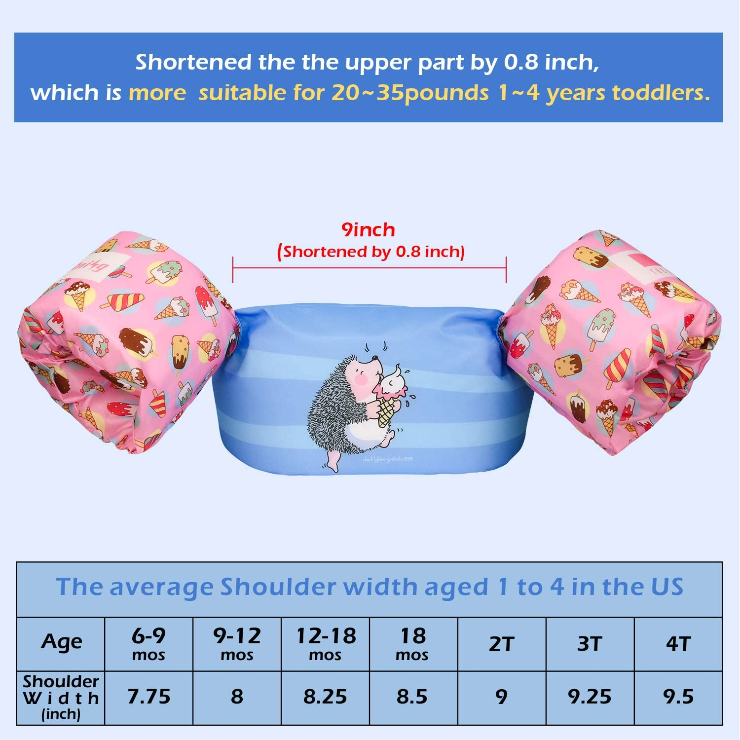 Dark Lightning Kids Swim Vest 30-50 Pounds for Toddler Boys and Girls Age1-4 Be A Jumper Best Floats Use in Puddle//Sea//Pool//Beach