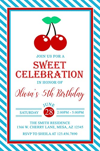 amazon com cherry birthday party invitations personalized printed