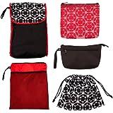 J.L. Childress Diaper Bag Organizer 5 Piece Set, Black/Fluorescent