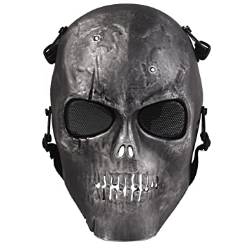 Airsoft Máscara, coofit Ghost Skull Airsoft – Máscara protectora para paintball Máscara Calavera Halloween máscara
