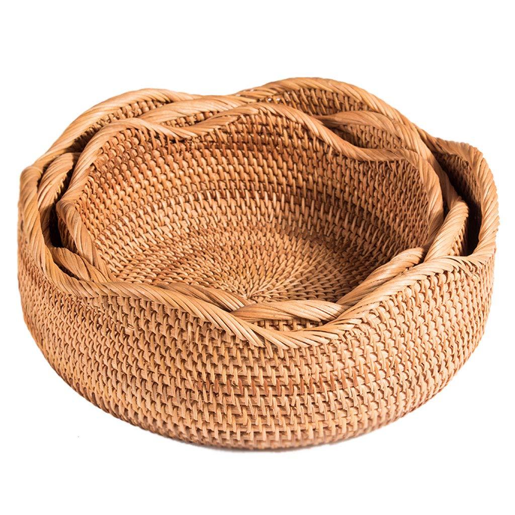 クリエイティブ織りフルーツトレイフルーツバスケットプレートフルーツディッシュフルーツラックキッチンリビングルームの装飾 (色 : Brown)  Brown B07NQ1T3HJ