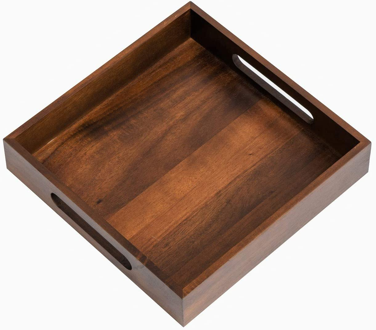KEVLANG Rustic Wooden Serving Tray with Handles-100% Acacia Wood with Natural Wooden Pattern-10x10 inch