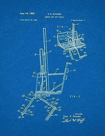 amazon com aerial ski lift chair patent print art poster blueprint