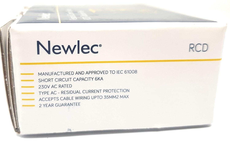 Newlec RCCB 40 Amp 30 mA 6 KA Doble polo 2P RCD Disyuntor de circuito con certificado de prueba