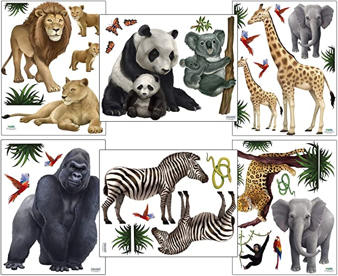 Woodland Wall Decor Safari Jungle Wall Decal with Tree Colorful Wall Decals Wall Decoration Nursery Sticker Pack #143WD