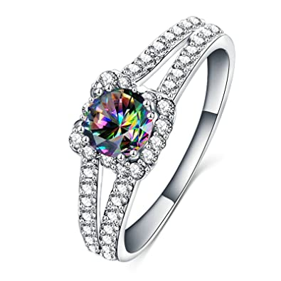 Adisaer Damen Verlobungsringe Ring Silber Zirkonia Platz Kristall V