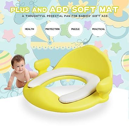 Asientos para WC, Lavmar Asientos para Inodoro con Cómodo y Suave Cojín y Asas para Niños Niñas Bebés Pequeños (Amarillo, Paquete de 1): Amazon.es: Bebé