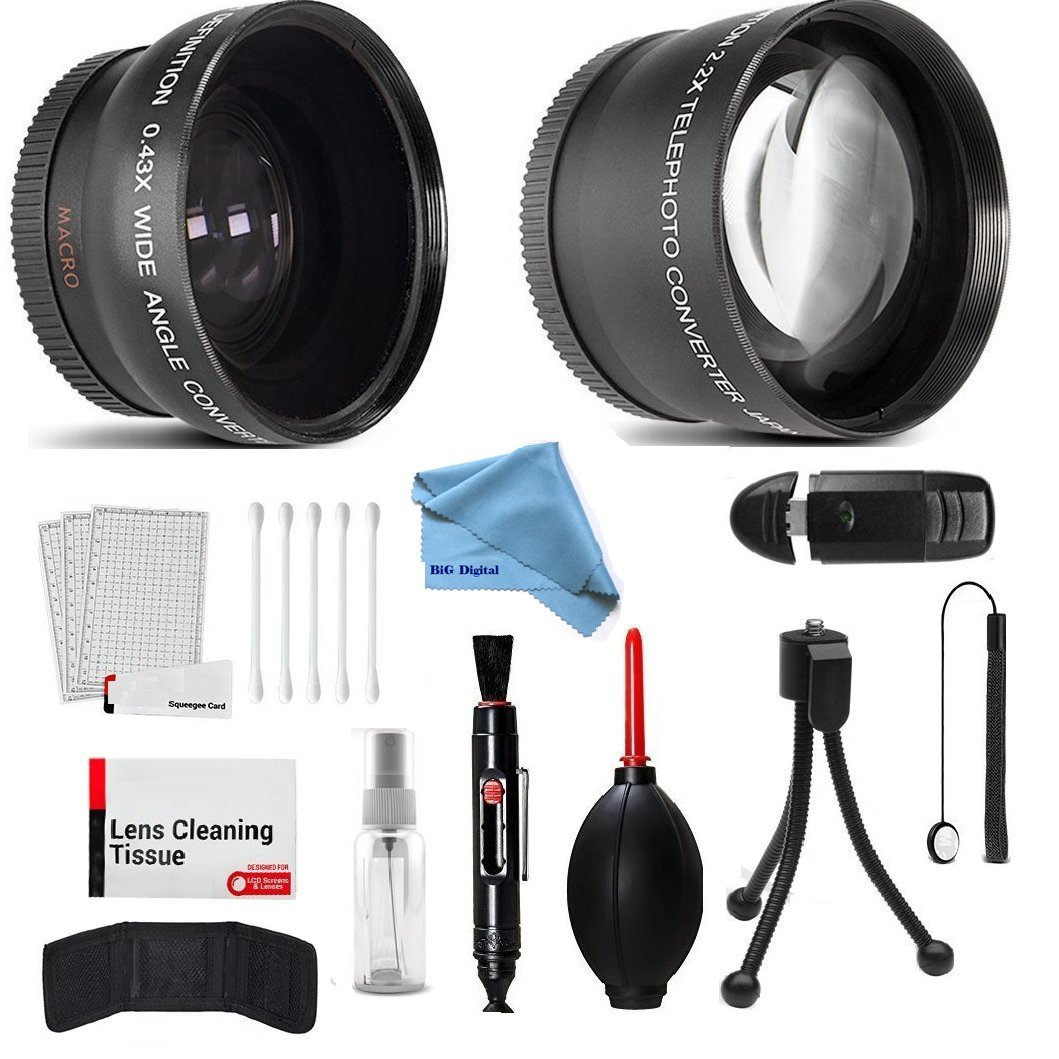 58mm Wide Angle and Telephoto Conversion Lens Accessories Kit for Canon Eos Rebel T6 T6s T6i SL1 T5 T5i T4i T3 T3i T1i T2i XSI XS XTI XT 7D 80D 70D 60D 60Da 50D 40D 30D 20D 10D by Vivitar