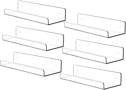 Cq acrylic 15 Acrylic Floating Wall Ledge Shelf,Floating Book Shelves for Kids Room,Clear Bathroom Shelves,Great for Living Room, Office, Bedroom, Bathroom, Kitchen,Set of 6