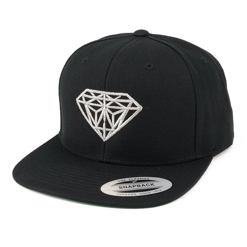 Flexfit Diamond Embroidered Flat Bill Snapback Cap - Black with Metallic Silver Thread