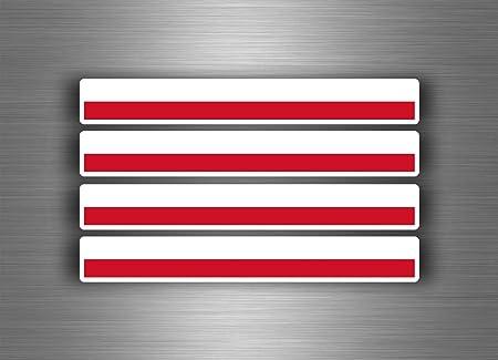 Akachafactory 4 X Selbstklebend Sticker Auto Moto Stripes Flagge Tuning Polen Polnisch Auto