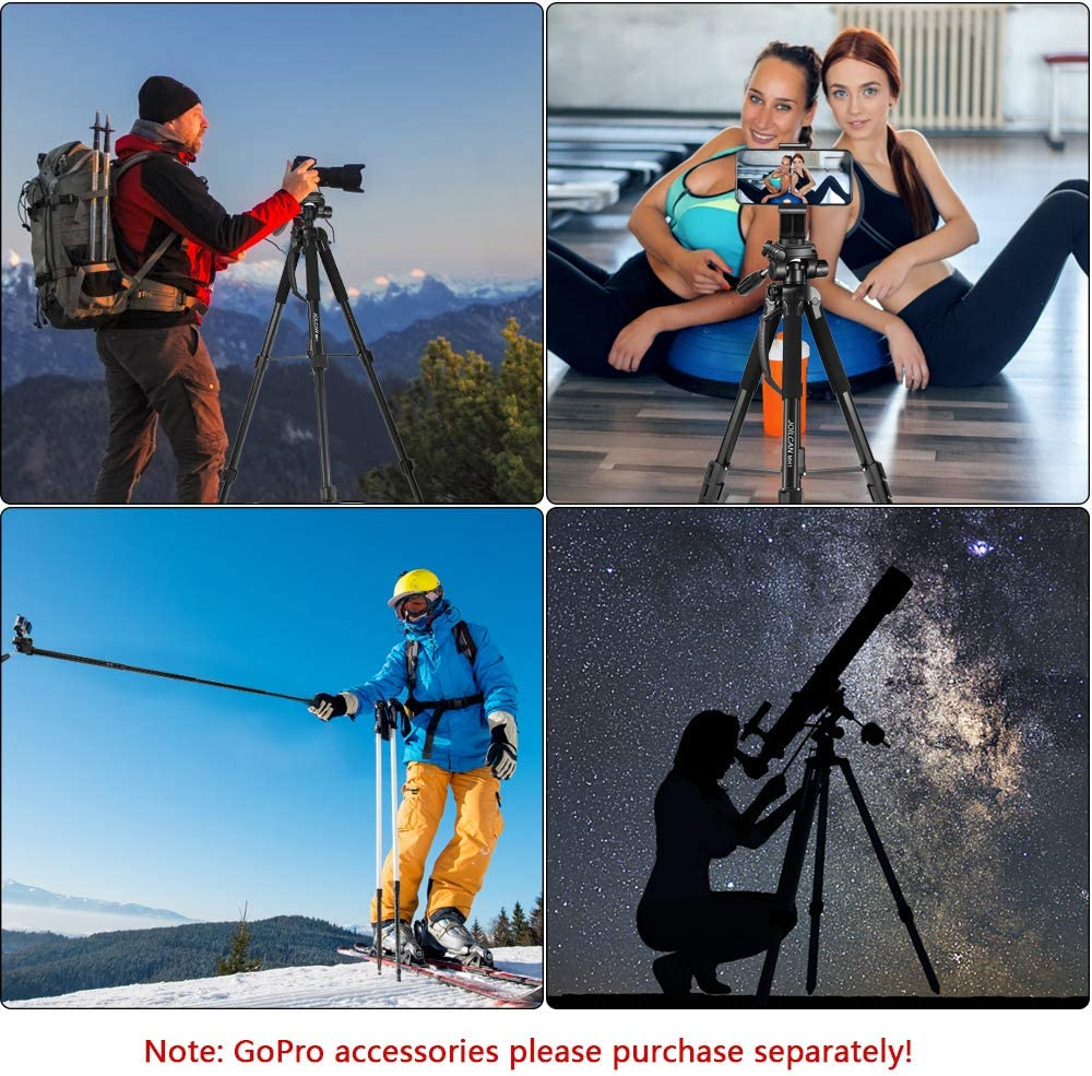iPhone /& Android Phone Tripod Aluminum Tripod /& Monopod Full Size for DSLR with 2 Quick Release Plates and Convenient Carrying Case Ideal for Travel and Work MH1 Blue 72-Inch Camera