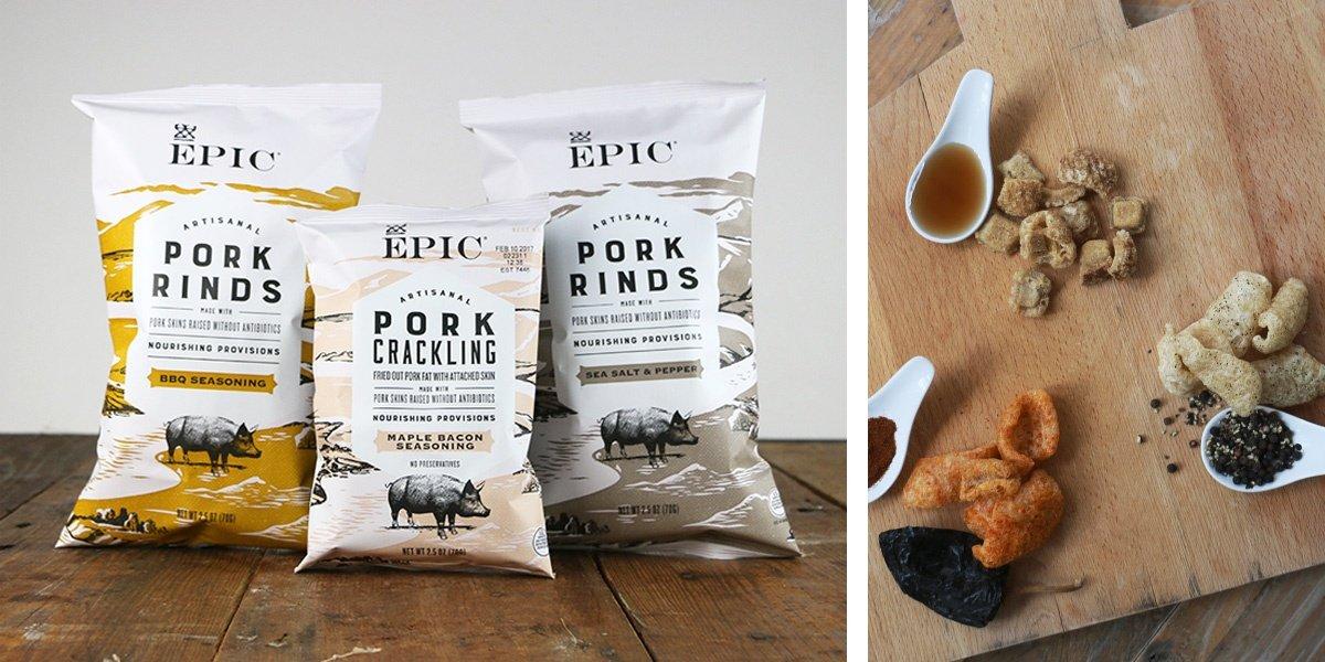 EPIC New Artisanal Pork Rinds Snack 2.5oz (Sea Salt & Pepper, 6 Pack)