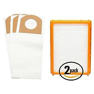 3 Replacement Eureka Boss SmartVac 4870MZ Vacuum Bags & 2 HEPA Filter - Compatible Eureka Style RR Vacuum Bags & HF-2 Filter