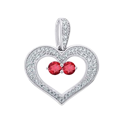 Jewels By Lux Sterling Silver Womens Round Cubic Zirconia CZ Heart Fashion Pendant Set With The Highest Quality Cubic Zirconia.
