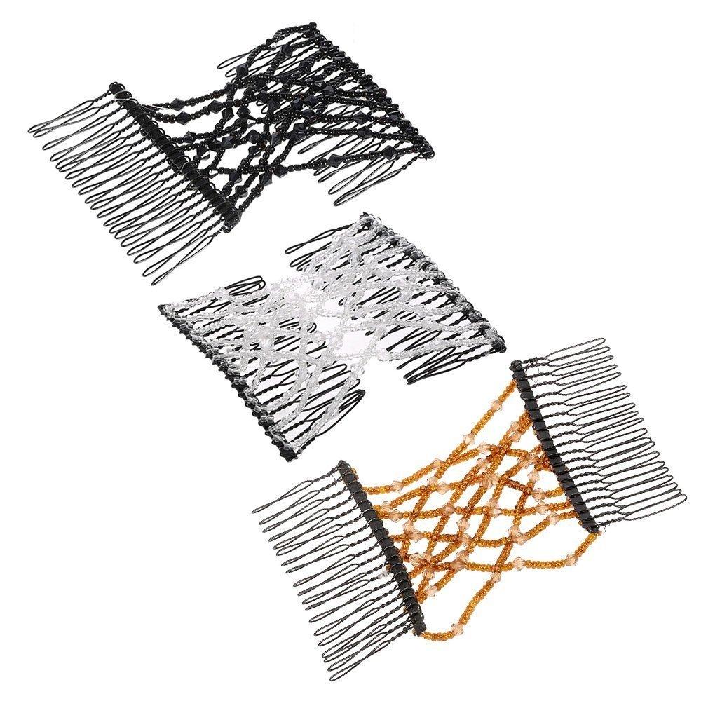 Hezon 2 Pcs Magic Beads Hair Clip Stretchy Hair Combs Clips DIY Hair Styling Tool