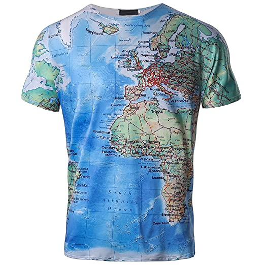 f2d7fe940639 Challyhope Men Casual 3D T-Shirt Emulational World Map Printed Streetwear  Pullover (M