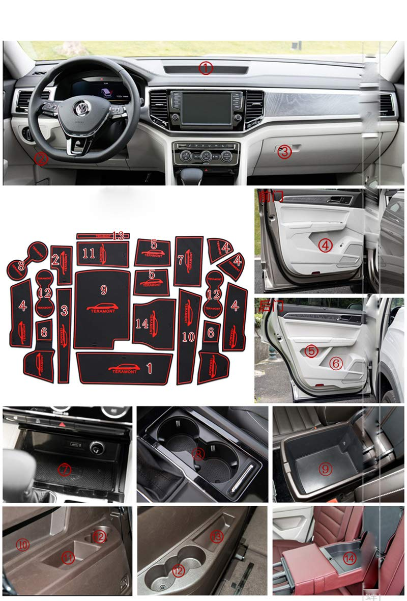 Salusy Custom fit Non-Slip Center Console Mats Door Liner Accessories Cup Mats Compatible with Volkswagen Atlas 2018 2019 by Salusy (Image #1)