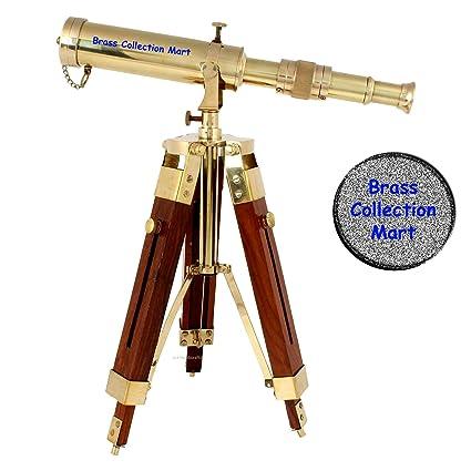 Nautical Antique Brass Spyglass Telescope With Wooden Tripod Vintage Home Decor Ture 100% Guarantee Maritime