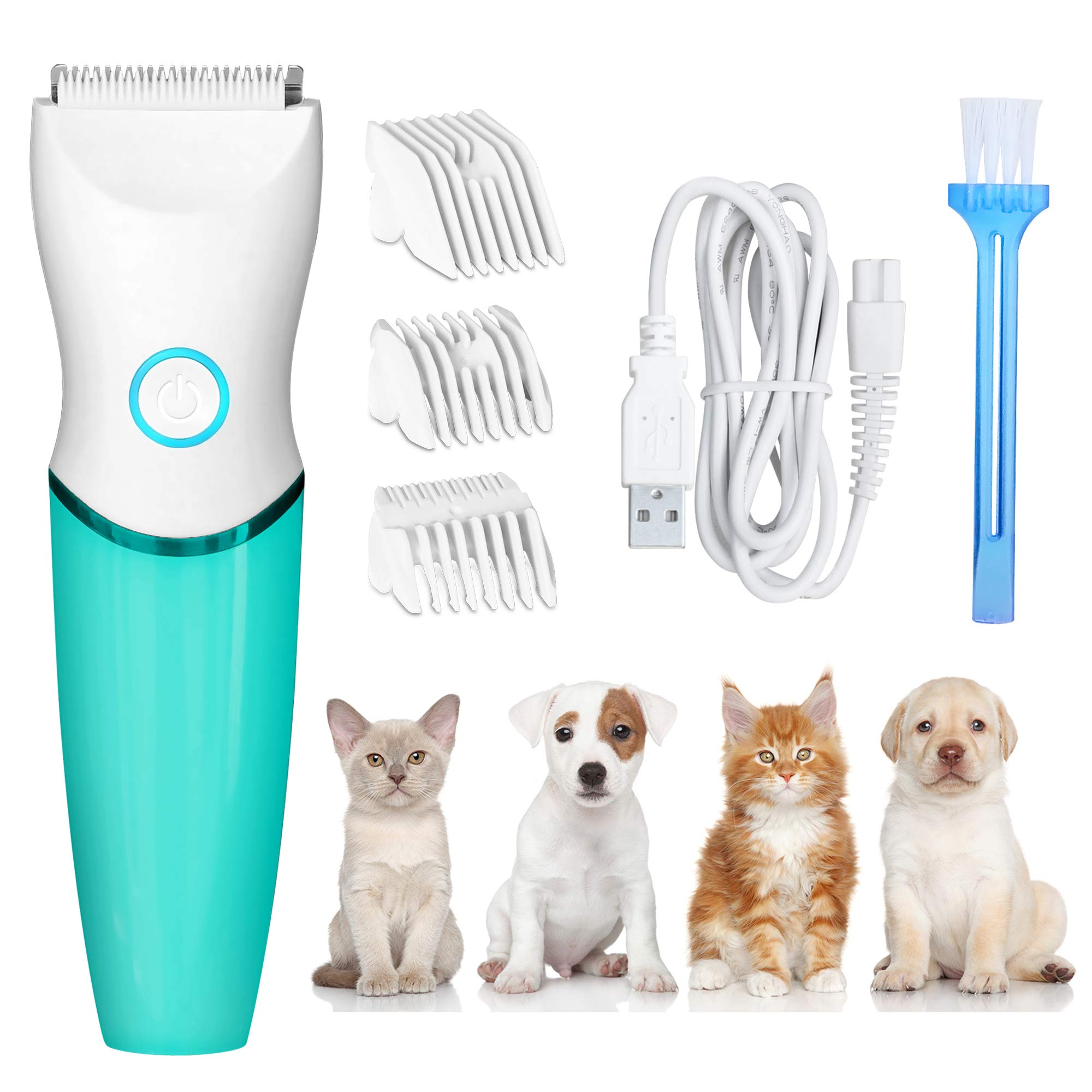 Dog Clippers Pet Grooming Kit Cordless Low Noise Waterproof Dog Hair Clipper Trimmer Shaver Rechargeable with 3 Guide Combs for Dogs Puppy Cats Pets