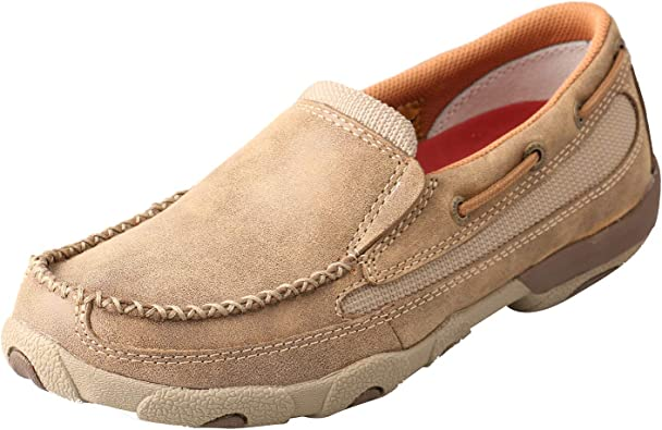 Twisted X Youths Leather Slip-On Rubber Sole Driving Moccasins Dusty Tan